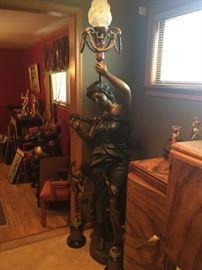 "Bronze Figural Torchiere 7'4""h"