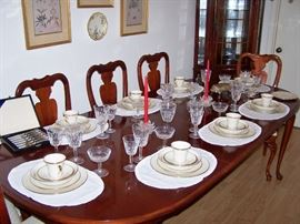 Dining Table w/ 6 chairs, Lenox China set- 8 - 4 pc place settings, Lismore Waterford Wine and Sherbet crystal!
