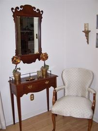 Hitchcock Cherry Wall Table,  Beautiful Mirror, Nice Upholstered Arm Chair
