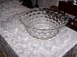 Huge Fostoria Punch bowl with 37 Cups!