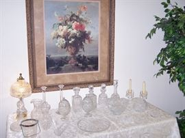 Waterford Decanters, Bowls, Candlesticks and more cut Crystal Items.  Lamp might even be Waterford!