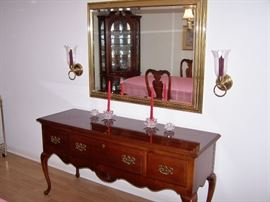 Cherry Wood Sideboard with slipper feet, Fine large Mirror