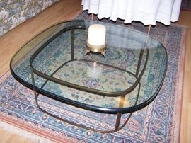 Great Glasstop coffee table! Very heavy glass(ouch-my back)