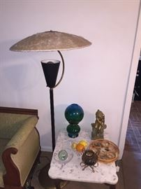 MCM Fiberglass Saucer Shade Floor Lamp.  Also pictured is Italian Marble top end table