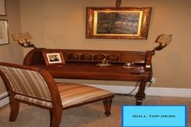Roll Top Desk, Upholstered Chair, Pair of Fixtures and Fine Art