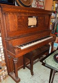 ANTIQUE STORY & CLARK UPRIGHT PLAYER PIANO. INCLUDES BOXED SCROLL COLLECTION. PRICED TO SELL AT $650.00.