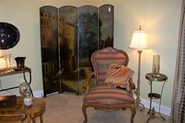 Beautiful screen behind French chair