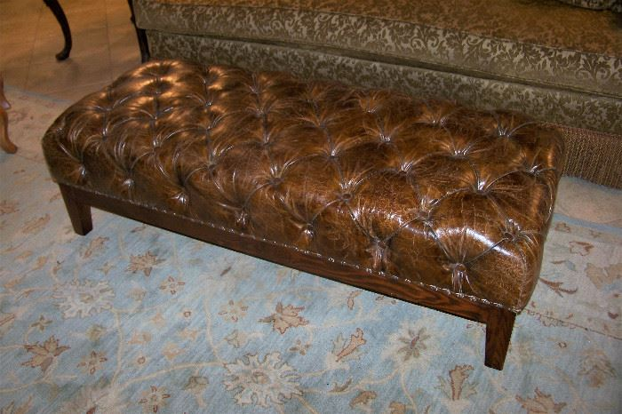 Leather tufted bench