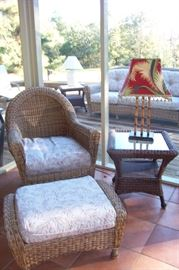 Assorted rattan chairs, seats, ottomans