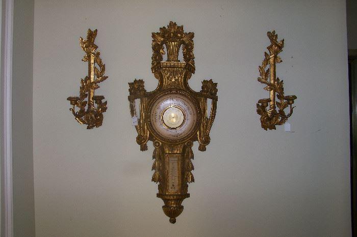 Italian barometer, wall sconces, 1950's