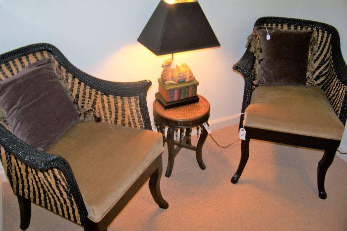 Pr. unusual rattan/wooden chairs