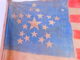 Very Rare 21 star parade flag marked I. A. Heald.  Probably dating  from post Civil War and not 1819-1820 period.