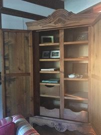 Stand alone cabinet, solid wood.