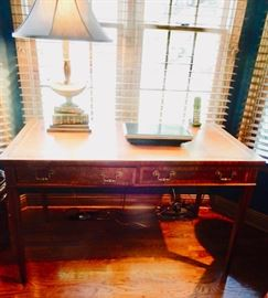 HEKMAN DESK  WITH GREAT INLAY AND LEATHER TOP.