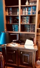 BOOKS, SMALL TV, LAMP