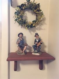 Wall shelf, Collectible figurines, decorative wreaths