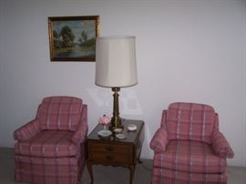 PAIR OF CLUB CHAIRS, LAMP TABLE & LAMP, SIGNED OIL PAINTING--DeANGELO  1930