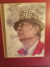The Bear Bryant University of Alabama. Framed, artist proofed, numbered print by Donald Williams.