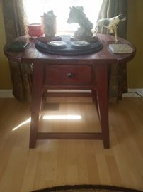 Heavy wood, drop-leaf accent table,