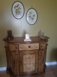 Console/parlor table, bird prints, & more.