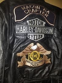 Leather Harley Davidson heavy jacket. Macon GA Chapter. Harley Owners Group.
