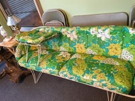 """vintage 60s porch """"couch"""" with ottoman"""