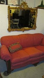 Re-upholstered vintage settee, shown with Georgian style mirror