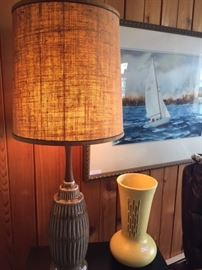 Cool midcentury lamp and vase