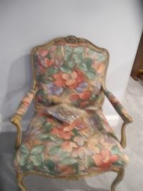 Lovely print chair with wooden arms and legs