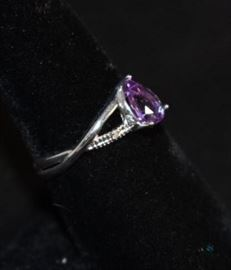 Amethyst and Diamond Silver Ring / Size 8, 2.7g -Teardrop- tested w/diamond tester-lab created