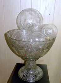 Antique Pattern Glass Punch Bowl