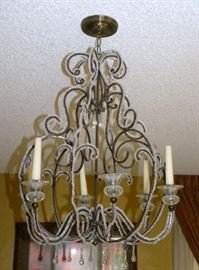 Iron & Crystal Hanging Candle Chandelier