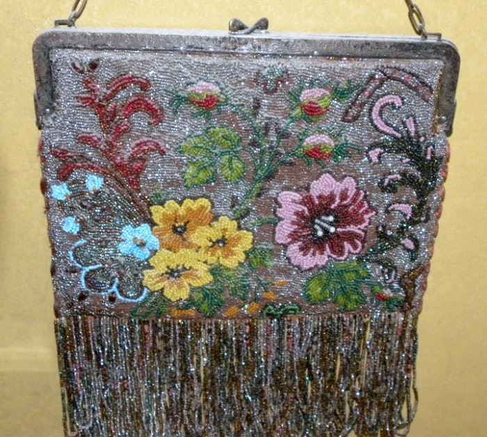 Large Antique Beaded Bag