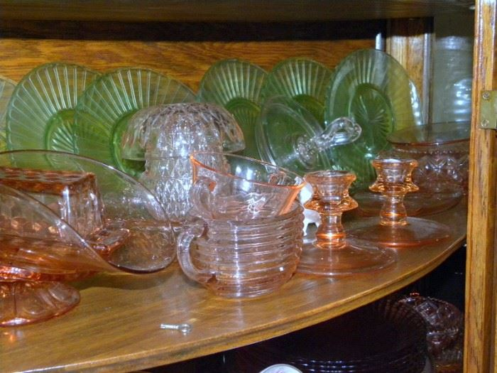 Pink & Green Depression Glass