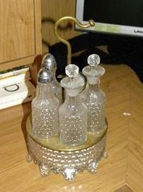 Pattern Glass Cruet Set