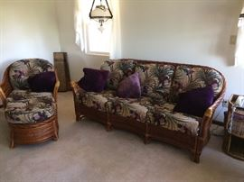 Rattan sofa ,  chair and  ottoman