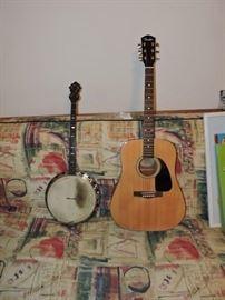 Gretsch 4 string Tenor Banjo and Fender acoustic guitar