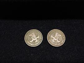 Pair of fare tokens - Kansas Univeristy 85th Year (1949) Lawrence, Kansas, The Rapid Transit Co.