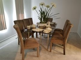 Smoky glass top dining set,  lonegrin china, rosenthal china