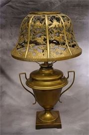 Brass Lamp with Chinese Pierced Brass Shade
