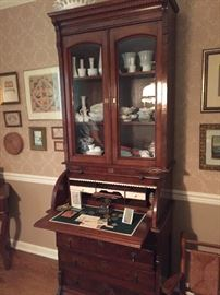Victorian Burl Front Secretary Desk