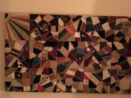 Victorian Crazy Quilt Piece mounted for hanging