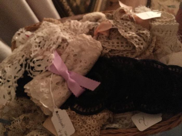 Large Amount Antique Lace, Linens, Quilts