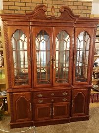 French Provincial China Cabinet w/removable top. Velvet lined silverware drawer.