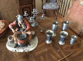 Pewter items and capatamonte