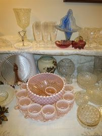 Beautiful Vintage Fenton Pink Hobnail Opalescent Punch Bowl Set, Waterford Rose Bowl And More!