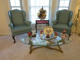 Wing Back chairs, Glass Coffee Table, Display Table, Beautiful Cardinals