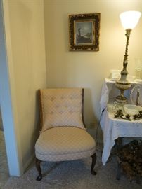 Beautiful Vintage Chair And Vintage Torchiere Lamp!