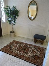 Wool Rug Made In Romania, Artificial Ficus Tree, Oval Mirror