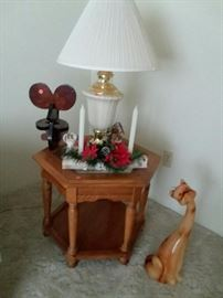 WOOD END TABLE, WAX CAT